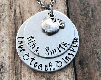"Teacher Gift - Personalized Hand Stamped Teacher Necklace - ""love teach inspire"" - Back to School - Teacher Appreciation - Apple Jewelry"