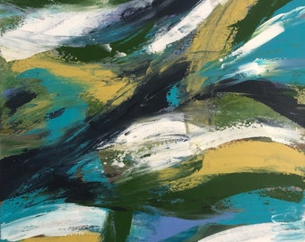 24x24 Original Abstract Art. Set of 2  Turquoise, citrine, blue, white, navy, green