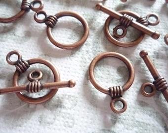 Antiqued Copper 11mm Toggle Clasps Qty 9 Sets