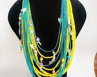 Chunky Necklace - multilayer necklace - colorful neckart - multi layer necklace - long necklace - big necklaces - bohemian - 2 in one - boho