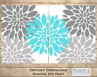 "Flower Bursts Botanical Printable Art 2 - 8"" x 10"" // Grey and Aqua Blue // Digital Fine Art Modern Wall Art Set Home Decor DOWNLOAD(108)"