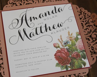 Laser Cut Lace Wedding Invitation - Dusty Rose Folder with Burgundy and Sage Vintage Flowers - Fully Customizable in over 80 colors