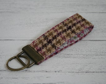 Pink purple and green tweed keyring key fob