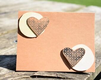 Hearts and Circles Yellow Abstract Card
