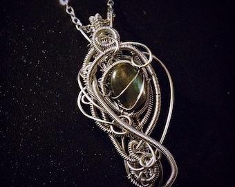 Wire Wrapped Steampunk Jewelry, Steampunk Necklace, Labradorite Pendant,  Wire Wrapped Pendant, Steampunk accessories,  Wirewrapped Jewrlry