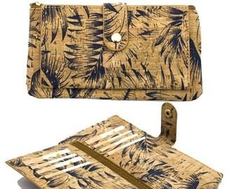THE BIG SALE Natural cork with Feather print women vegan wallet wallet card holder Cork-leather, handmade Bag-255