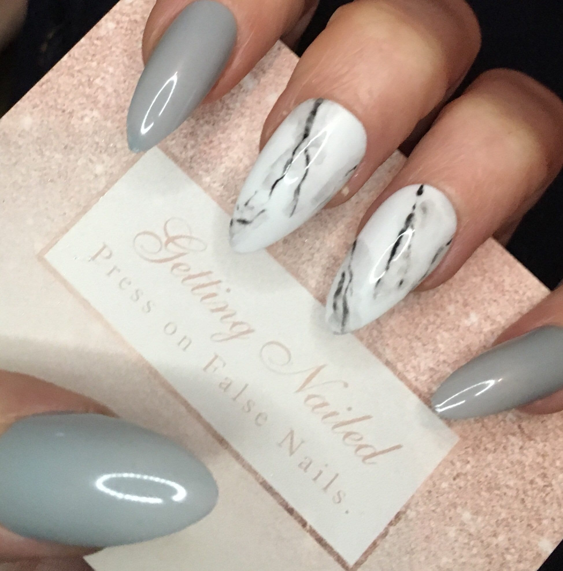 Light grey nails, grey marble nails, marble fake nails, false nail ...