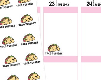 Taco Tuesday Planner Stickers, Taco Tuesday Stickers, Taco Stickers, Food Stickers, Kawaii Stickers