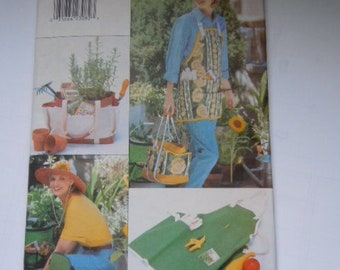 Gardening Apron Tote Hat Pattern Butterick 4364 Sewing Supply
