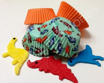 Standard cupcake liners -  Dino design for your home made creations, the excellent combinitaion for your dino toppers, free freight w/topper