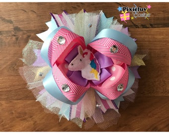 """Rainbow Unicorn Pink, Baby Blue and Purple 6.5"""" Stacked Boutique Hair Bow"""