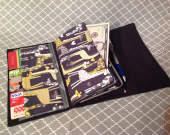 Ready to ship: Giraffe/Gray/black/yellow Cash Envelope Wallet, 4 envelopes, plus more! Great for budgeting, Dave Ramsey Insp.