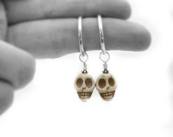 sugar skull earrings, day of the dead, sugar skull jewelry, white mexican skull,