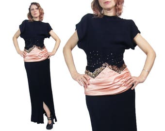 1940's Black Rayon Gown with Gold Sequins and Pink Satin Sash