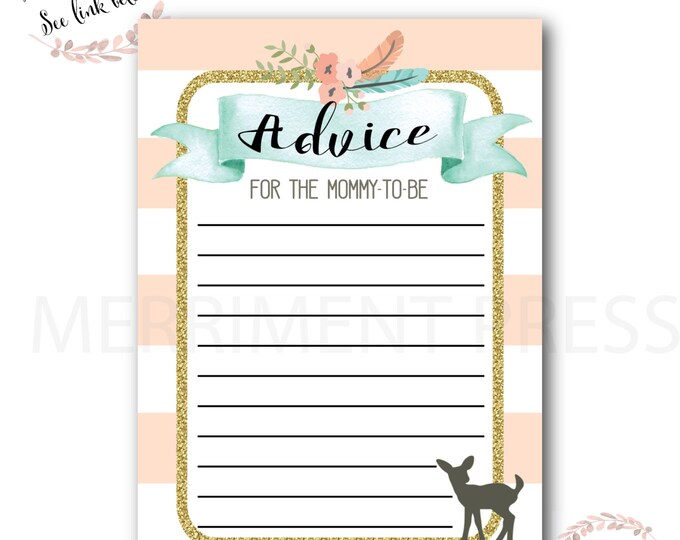 Advice Card // Oh Deer // Fawn // Mommy to Be // Peach // Mint // Gold Glitter // Pink // Woodlands // Instant Download // OXFORD COLLECTION