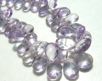 Pink Amethyst Faceted Pear Briolette Beads  4