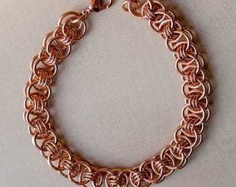 7th Anniversary Gift, 7 Year Anniversary, Mens Copper Bracelet, Chainmaille Bracelet, Arthritis Bracelet, Copper Gift for Her, Canada