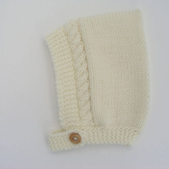 Cable Knit Pixie Hat in Cream Merino Wool - Sizes Newborn to Age 24 months - Pre-Order