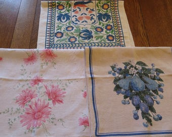 Vintage dishtowels/tea towels, Set of 3; Luther Travis, Winterthur, Pink Flowers