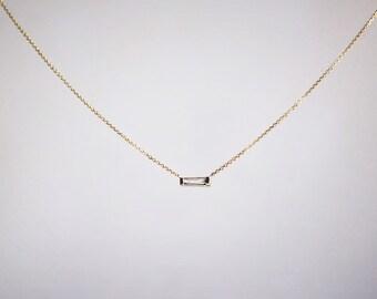 14k Gold .10 carat Tapered Diamond Baguette Necklace