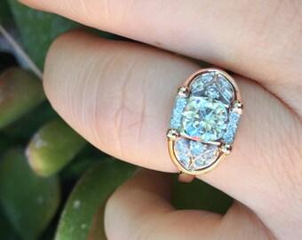 Moissanite Engagement Ring Art Deco Fine Jewelry 14K Rose & White Gold Diamond Engagement Ring Forever  One Moissanite Center - V1001