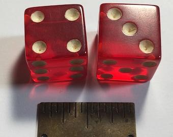 Pair of 1/2 inch Prystal Red Bakelite Dice