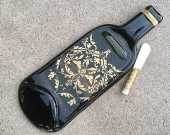 Gold Damask Pattern Melted Wine Bottle Cheese Tray / Wine Bottle Spoon Rest