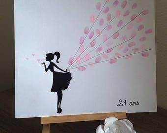 "fingerprint tree ""girly"" on canvas 40cm x 40 cm birthday, Bachelor bachelorette party..."