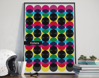 Colors, Frame, Wall, Print,Instant Download, Balls, Decoration, paper, circle