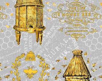 Half Yard Fabric-A Bees Life-Gray-Grey Gold Beehive