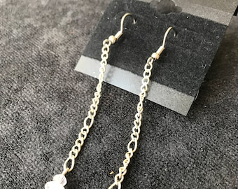 Silver Chain with Clear Jewel Earrings