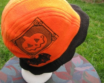 Scalloped Edge Fleece Bucket Hat with Pumpkin Jack o Lantern and Beautiful Black Lace Bat