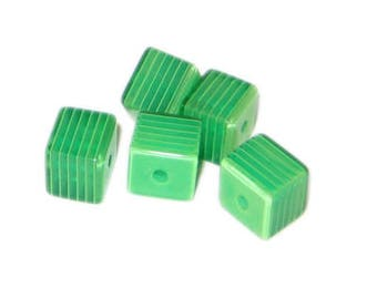 10mm Green Striped Polyresin Cube Bead, approx. 30 beads