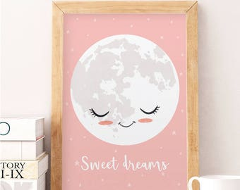 Sweet dreams quote, The moon print, Moon wall art, Nursery moon print, Nursery wall decor, Kids room art, Pink nursery print, Bedroom decor