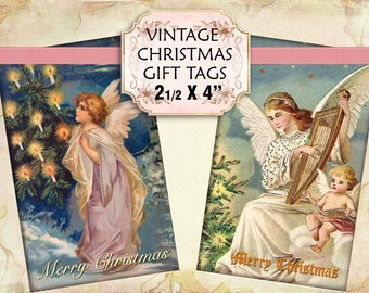 Vintage Victorian Angels Christmas Gift Tags digital collage sheet 1 3/4 x 2 3/4 inch size (234) Buy 3 get 1 bonus