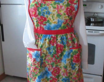 Granny Apron of many colorful flowers made in Maine