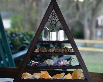 Dark Brown Crystal Charging Triangle Display Shelf