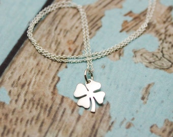 Lucky Shamrock Charm Necklace in Sterling Silver