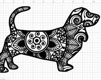 Mandala Style Dog Dachshund  SVG PDF EPS Dxf & Studio 3 Cut Files
