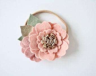 THE EMMA felt flower headband in Blushing Bride