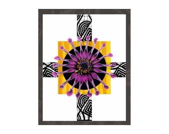 Botanical Floral Art Print, Contemporary Modern Minimalist Interior Decor, Big Large Poster, Nature Flower Wall Art, Purple Orange Black