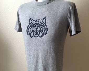 Vintage Men's 80's T Shirt, Grey, Navy Blue, Cotton, Polyester, Short Sleeve (S)
