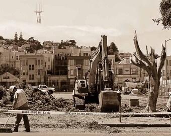 Mission San Francisco Construction / Sepia Tone Print of Mission Playground renovation