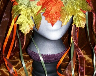 Orange and green velvet maple leaf mask