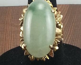 14k Gold Jade Ring, Antique Jade Ring, Vintage Jade Ring, Natural Jade Ring, Gold Jade Ring, Green Jade, Jade Jewelry, Art Nouveau Jade