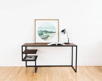 Wood Desk Table for Work with Floating Walnut Oak Shelves Table Steel Frame Industrial Mid Century Modern Handmade Handcrafted