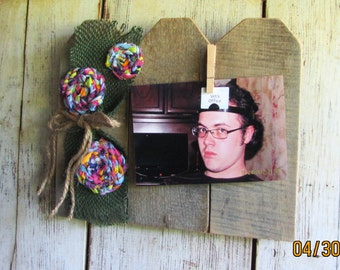 A 4 x 6 Picture Swapping,  Handmade Rustic Picture Frame, Country floral embellished