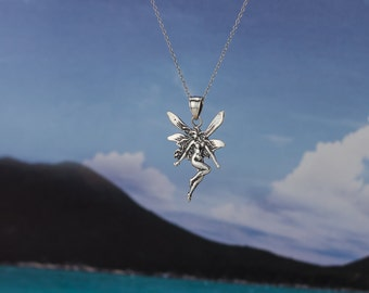 Fairy necklace etsy 925 sterling silver fairy necklace aloadofball Image collections
