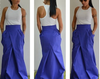 Long Skirt, High Waisted Skirt, Plus Size Maxi Skirt, Maxi Skirt,Skirt With Pockets, Blue skirt, Wedding Skirt, Boho Skirt, Plus Size Skirt