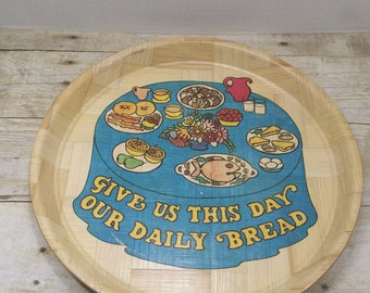 Wood Tray, Serving Tray, vintage, Daily Bread, retro tray, 1960s-1970s
